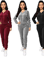 cheap -Women's Side-Stripe 2-Piece Velour Tracksuit Sweatsuit 2pcs Running Fitness Jogging Windproof Breathable Soft Sportswear Athletic Clothing Set Long Sleeve Activewear Micro-elastic Regular Fit