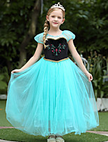 cheap -Anna Dress Masquerade Flower Girl Dress Girls' Movie Cosplay A-Line Slip Cosplay Halloween Green Dress Halloween Carnival Masquerade Tulle Polyester