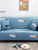 cheap -Blue Cartoon Fish Print Dustproof All-powerful Slipcovers Stretch Sofa Cover Super Soft Fabric Couch Cover with One Free Pillow Case