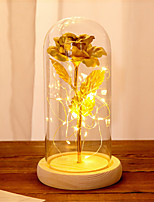 cheap -Creative valentine's day gift 24k gold foil rose glass cover decoration LED with lights without batteries
