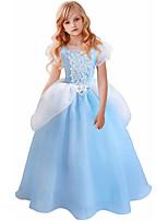 cheap -Cinderella Dress Masquerade Flower Girl Dress Girls' Movie Cosplay A-Line Slip Cosplay Halloween Light Blue Dress Halloween Carnival Masquerade Tulle Polyester