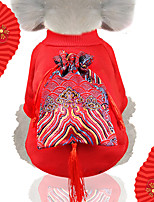 cheap -Dog Cat Hoodie Jumpsuit Winter Dog Clothes Red Costume Husky Labrador Alaskan Malamute Polyester Plush Ethnic Style Unique Design S M L XL XXL