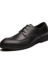 cheap -Men's Leather Shoes Faux Leather Fall & Winter Casual Oxfords Walking Shoes Breathable Black / Gray