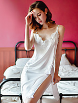 cheap -Women's Backless / Split Babydoll & Slips Nightwear Solid Colored / Embroidered White M L