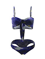 cheap -Women's Basic Blue Bandeau Cheeky Bikini Swimwear - Geometric Bow Print S M L Blue
