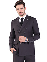 cheap -Tuxedos Standard Fit Peak Double Breasted Six-buttons Polyster Solid Color