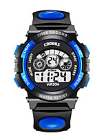 cheap -Kids Digital Watch Digital Sporty Stylish Rubber Black 30 m Water Resistant / Waterproof Calendar / date / day Stopwatch Digital Cartoon Colorful - Black Light Blue Orange Two Years Battery Life