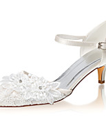 cheap -Women's Wedding Shoes Low Heel Pointed Toe Crystal / Buckle Satin Summer Ivory / Party & Evening