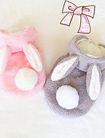 cheap -Dog Sweater Hoodie Rabbit Winter Dog Clothes Pink Gray Costume Flannel Fabric Rabbit / Bunny Cosplay XS S M L XL