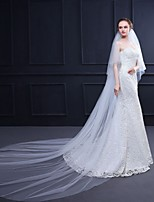 cheap -Two-tier Stylish / Elegant & Luxurious Wedding Veil Cathedral Veils with Solid 118.11 in (300cm) 100% Polyester / Classic