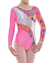 cheap -Rhythmic Gymnastics Leotards Artistic Gymnastics Leotards Women's Girls' Leotard Blushing Pink Spandex High Elasticity Handmade Jeweled Diamond Look Long Sleeve Competition Dance Rhythmic Gymnastics