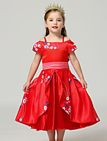 cheap -Elena Dress Masquerade Flower Girl Dress Girls' Movie Cosplay A-Line Slip Cosplay Halloween Red Dress Halloween Carnival Masquerade Polyster