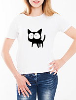 abordables -Tee-shirt Femme, Animal / Bande dessinée Imprimé Basique Chat Blanche