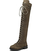 cheap -Women's Boots Low Heel Round Toe Suede Knee High Boots Winter Black / Brown / Army Green