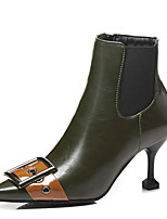 cheap -Women's Boots Stiletto Heel Pointed Toe PU Booties / Ankle Boots Winter Black / Green