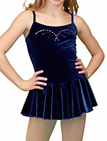 cheap -Figure Skating Dress Women's Girls' Ice Skating Dress Dark Blue Spandex High Elasticity Training Competition Skating Wear Crystal / Rhinestone Sleeveless Ice Skating Figure Skating