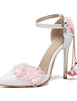 cheap -Women's Wedding Shoes Stiletto Heel Pointed Toe PU Fall White / Pink