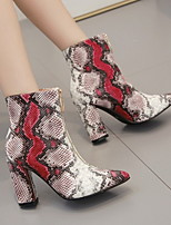 cheap -Women's Boots Chunky Heel Pointed Toe PU Booties / Ankle Boots Fall & Winter Red