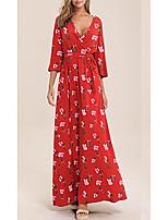 cheap -Women's A Line Dress - Floral Black Purple Blue S M L XL