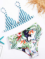 cheap -Women's Basic Blue Bandeau Cheeky High Waist Bikini Swimwear - Striped Floral Lace up Print S M L Blue