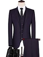 abordables -Noir / Violet / Bleu Couleur Pleine Coupe Sur-Mesure Polyester Costume - Cranté Droit 1 bouton / costumes