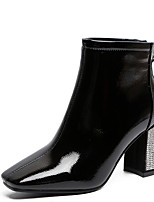 abordables -Femme Bottes Talon Bottier Bout carré Polyuréthane Bottine / Demi Botte Hiver Noir / Beige