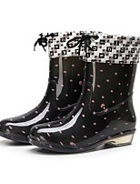 cheap -Women's Boots Low Heel Round Toe PVC Mid-Calf Boots Fall Black / Red