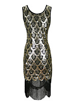 cheap -The Great Gatsby Retro Vintage 1920s Summer Flapper Dress Masquerade Women's Sequins Tulle Sequin Costume Black / Golden Vintage Cosplay Party Halloween Sleeveless