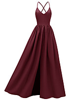 cheap -A-Line Spaghetti Strap Floor Length Jersey Open Back Prom / Formal Evening Dress 2020 with Pleats