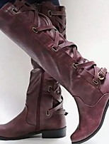 cheap -Women's Boots Low Heel Round Toe PU Mid-Calf Boots Winter Black / Brown / Red