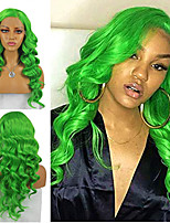 cheap -Synthetic Lace Front Wig Body Wave Side Part Lace Front Wig Long Green Synthetic Hair 18-26 inch Women's Cosplay Soft Heat Resistant Green / Natural Hairline
