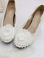 cheap -Women's Wedding Shoes Chunky Heel Round Toe PU Winter White