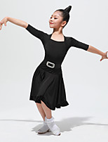 cheap -Latin Dance Outfits Girls' Training / Performance Velvet / Ice Silk Pattern / Print 3/4 Length Sleeve Natural Skirts / Top / Belt