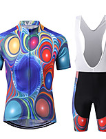 cheap -WECYCLE Men's Short Sleeve Cycling Jersey with Bib Shorts Winter Black / Blue Bike Clothing Suit 3D Pad Warm Quick Dry Sports Solid Color Mountain Bike MTB Road Bike Cycling Clothing Apparel
