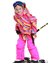 cheap -Phibee Girls' Ski Jacket with Pants Skiing Camping / Hiking Winter Sports Windproof Warm Winter Sports Polyester Warm Top Warm Pants Clothing Suit Ski Wear