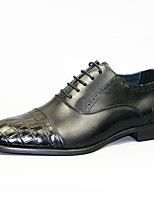 cheap -Men's Novelty Shoes Nappa Leather Spring & Summer / Fall & Winter Casual / British Oxfords Non-slipping Black / Brown / Party & Evening