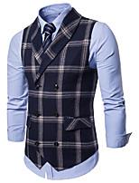 cheap -James Bond Gentleman Vintage Double Breasted Waistcoat Men's Slim Fit Cotton Costume Black / Navy Blue / Gray Vintage Cosplay Party Halloween / Vest