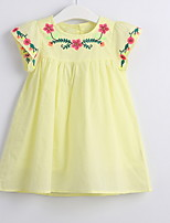 cheap -Toddler Girls' Color Block Sleeveless Above Knee Dress Yellow