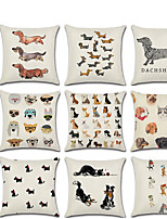 cheap -1pcs Dachshund Animal Print Pillowcase Cushion Cover Linen 45 * 45