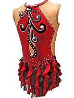 cheap -Rhythmic Gymnastics Leotards Artistic Gymnastics Leotards Women's Girls' Leotard Red Spandex High Elasticity Handmade Jeweled Diamond Look Sleeveless Competition Dance Rhythmic Gymnastics Artistic