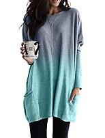 cheap -Women's Daily T-shirt - Color Block Light Blue