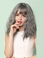 cheap -Extension Natural Wave Neat Bang Wig Medium Length Grey Synthetic Hair 17 inch Women's Party Synthetic Designers Dark Gray
