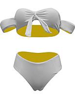 cheap -Women's Basic White Bandeau Cheeky Bikini Swimwear - Color Block Solid Colored Bow S M L White