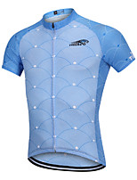 cheap -YORK TIGERS Men's Boys' Short Sleeve Cycling Jersey - Kid's Silicone Elastane Sky Blue+White Bike Jersey Quick Dry Reflective Strips Sports Lines / Waves Mountain Bike MTB Road Bike Cycling Clothing