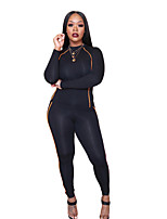 cheap -Women's Side-Stripe 2-Piece Tracksuit Sweatsuit 2pcs Running Fitness Jogging Windproof Breathable Soft Sportswear Athletic Clothing Set Long Sleeve Activewear Micro-elastic Regular Fit