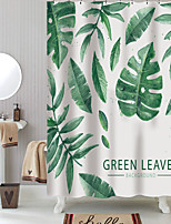 cheap -Shower Curtains with Hooks Green Leaves Polyester Novelty Fabric Waterproof Shower Curtain for Bathroom