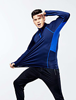 cheap -Men's Thumbhole Half Zip Compression Shirt Running Shirt Stand Running Fitness Jogging Windproof Breathable Soft Sportswear Tee / T-shirt Top Long Sleeve Activewear Micro-elastic