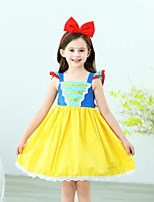 cheap -Princess Dress Masquerade Flower Girl Dress Girls' Movie Cosplay A-Line Slip Cosplay Halloween Yellow Dress Halloween Carnival Masquerade Tulle Cotton