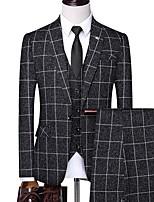 abordables -Noir / Blanche / Bleu À carreaux Coupe Sur-Mesure Polyester Costume - Cranté Droit 1 bouton / costumes