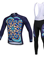 cheap -YORK TIGERS Men's Long Sleeve Cycling Jersey with Bib Tights - Kid's Winter Fleece Silicone Elastane Dark Navy Argyle Bike Jersey Bib Tights Thermal / Warm Breathable 3D Pad Quick Dry Reflective